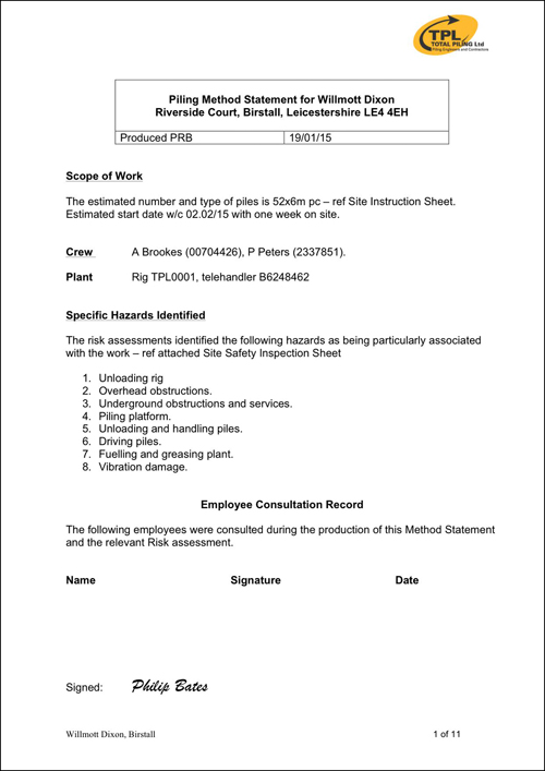Sample Method Statement TPL Mini Piling Specialists – Method of Statement